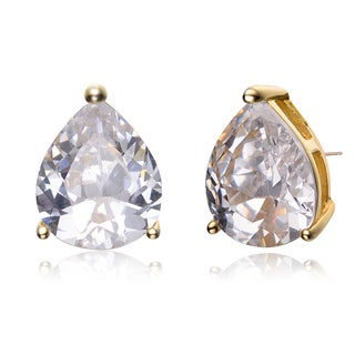 Collette Z Sterling Silver Cubic Zirconia White Pear Studs