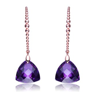 Collette Z CZ Sterling Silver Rose Plated Amethyst Drop Earrings