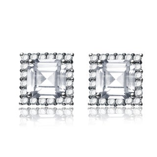 Collette Z CZ Black Plated Square Stud Style Earrings