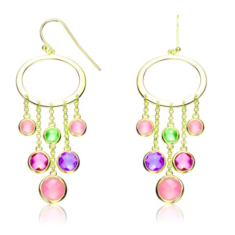 Collette Z CZ Sterling Silver Gold Plated Multi Color Chandelier Earrings - Pink