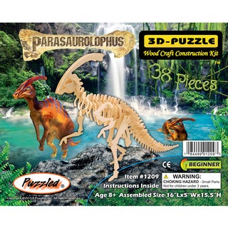 Puzzled In. Natural Wood Parasaurolophus 3D Construction Kit