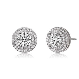 Collette Z CZ Sterling Silver round Stud Earrings