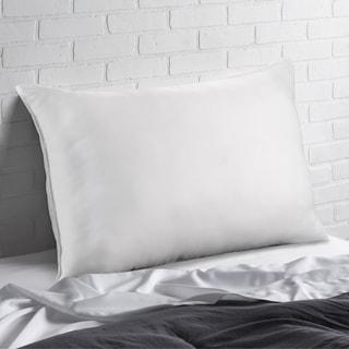 Exquisite Hotel Signature Gel Fiber Filled Med/Firm Overstuffed Pillow (Set of 2) - Best for Side/Back Sleeper - White