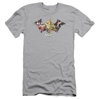Batman/Sirens Bat Short Sleeve Adult T-Shirt 30/1 in Silver