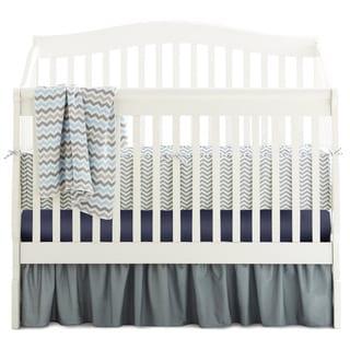 American Baby Company Chevron Grey/Navy/Blue Cotton 5-Piece Crib Bedding Set