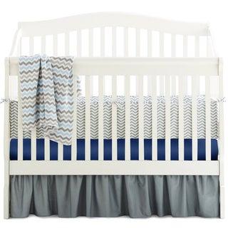 American Baby Company Grey/Royal/Blue Cotton Chevron 5-piece Crib Bedding Set