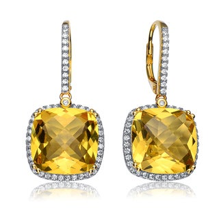 Collette Z C.Z. Sterling Silver Rhodium Plated Yellow Citrine Square Drop Earrings