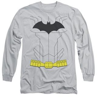 Batman/New Batman Uniform Long Sleeve Adult T-Shirt 18/1 in Silver
