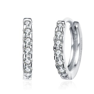 Collette Z CZ Rhodium Plated Sterling Silver Cubic Zirconia Mini Hoop Earrings