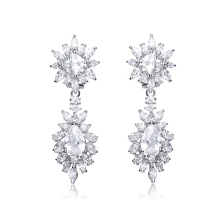 Collette Z C.Z. Sterling Silver Cubic Zirconia Dangling Earrings