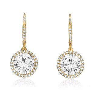 Collette Z C.Z. Sterling Silver Gold Plated Round Drop Earrings