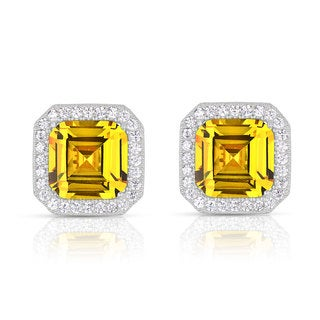 Collette Z C.Z. Sterling Silver Rhodium Plated Yellow Citrine Square Earrings