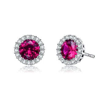 Collette Z C.Z. Sterling Silver Rhodium Plated ERuby Round Earrings