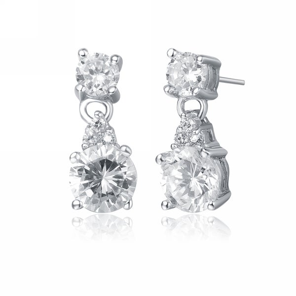 d00290041 Collette Z C.Z. Sterling Silver Rhodium Plated Round Drop Earrings - White.  Click to Zoom