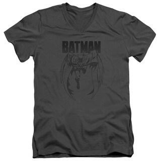 Batman/Grey Noise Short Sleeve Adult T-Shirt V-Neck 30/1 in Charcoal