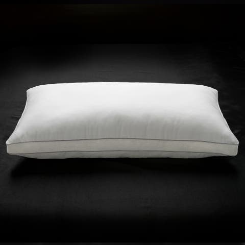Ella Jayne Penthouse Collection 100% Cotton Mesh Gusseted Gel Fiber Fill Soft Pillow - Best for Stomach Sleepers - Silver/White