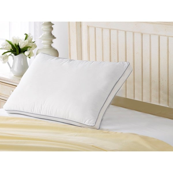 100% Cotton Mesh Gusseted Gel Fiber Fill Soft Pillow - Best for Stomach Sleepers - Silver/White