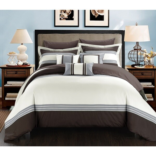 Chic Home Falconia Brown 8-Piece Bed in a Bag Comforter with Sheet Set