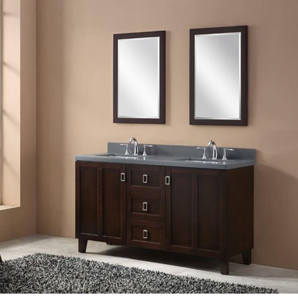 Shop Dark Brown Finish 60 Inch Grey Quartz Top Double Sink