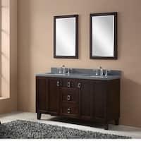 Dark Brown Finish 60-inch Grey Quartz Top Double Sink Bathroom Vanity