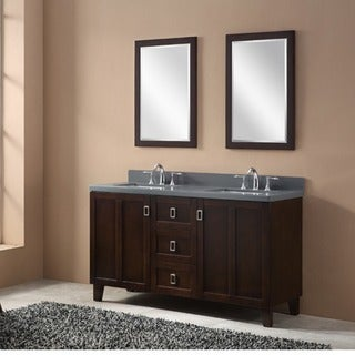 Dark Brown Finish 60-inch Grey Quartz Top Double Sink Bathroom Vanity
