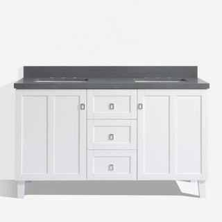 White Finish 60-inch Grey Quartz Top Double Sink Bathroom Vanity