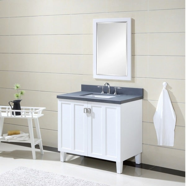 White Finish Grey Artificial Marble Top 36 Inch Single Sink Bathroom Vanity