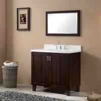 Brown Finish Phoenix White Artificial Marble Top 36-inch Single Sink Bathroom Vanity