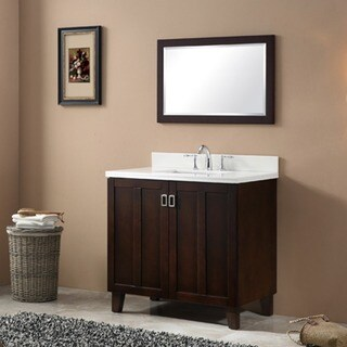 Brown Finish Phoenix White Artificial Marble Top 36-inch Single Sink Bathroom Vanity