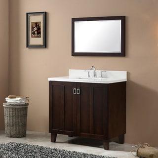 Genial Brown Finish Phoenix White Artificial Marble Top 36 Inch Single Sink  Bathroom Vanity