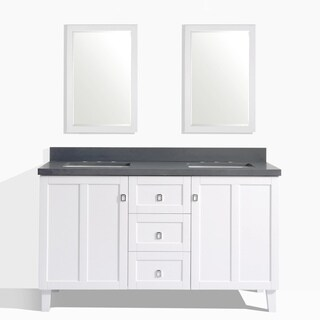 White Finish 60-inch Grey Quartz Top Double Sink Bathroom Vanity with 2 Mirrors