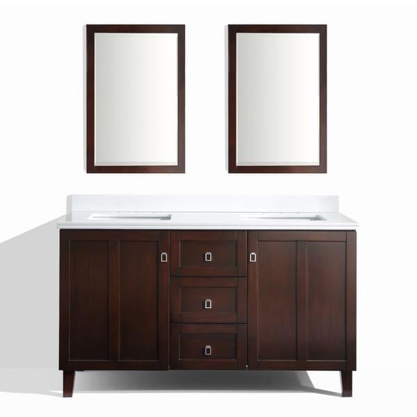 Shop Brown Finish 60 Inch Phoenix White Quartz Top Double Sink Bathroom Vanity With 2 Mirrors