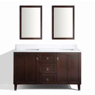 Brown Finish 60-inch Phoenix White Quartz Top Double Sink Bathroom Vanity with 2 Mirrors