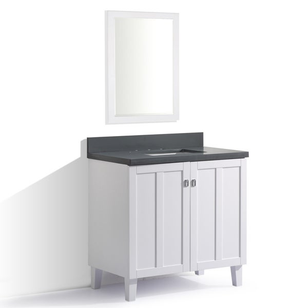White Finish Grey Quartz Top 36 Inch Single Sink Bathroom Vanity With Mirror Free Shipping