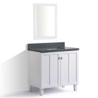 White Finish Grey Quartz Top 36-inch Single Sink Bathroom Vanity with Mirror