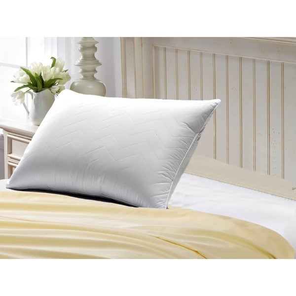 Exquisite Hotel Quilted Gel Fiber Filled Soft Pillow - Best for Stomach Sleepers - White