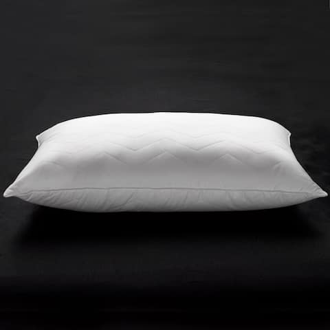 Ella Jayne Penthouse Collection Soft Luxury Plush 100% Cotton Quilted Chevron Gel Fiber Stomach Sleeper Pillow - White