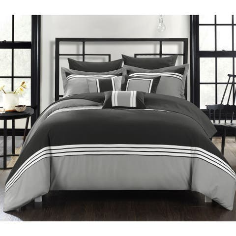 Chic Home Falconia Black 8-Piece Bed in a Bag Comforter with Sheet Set