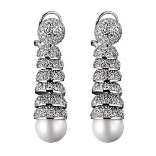 Collette Z C.Z. Sterling Silver Rhodium Plated Micro Pave Spiral Mother Of Pearl Drop Earrings