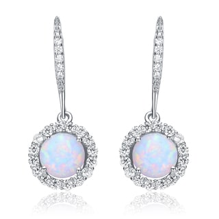Collette Z Sterling Silver Created opal and White Cubic Zirconia Round Dangle Earrings