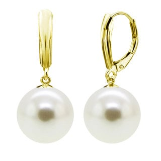 DaVonna 18k Gold over Silver 14mm White Round Shell Pearl Lever-back Earrings