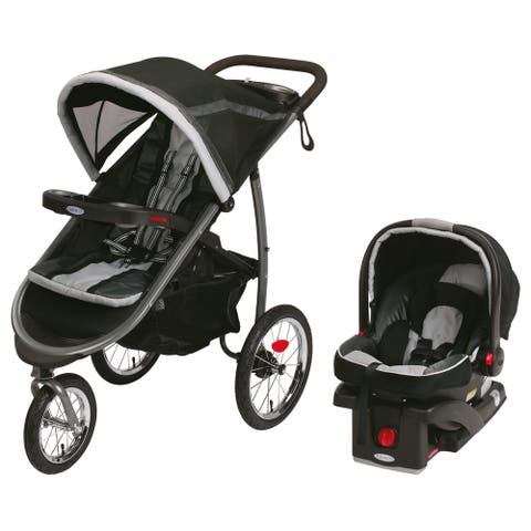 Graco Gotham Black Plastic Fast-action Fold Jogger Click Connect Travel System