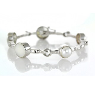 One-of-a-kind Michael Valitutti Pearl and Rock Crystal Bangle