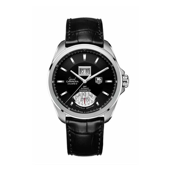 256c48b7d3e Shop Tag Heuer Men's WAV5111.FC6225 'Grand Carrera' GMT ChronoMeter  Automatic Black Leather Watch - Free Shipping Today - Overstock - 12437928