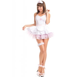Be Wicked Women's 'Sizzling School Nurse' White/Pink Polyester/Spandex 4-piece High-quality Adult Costume