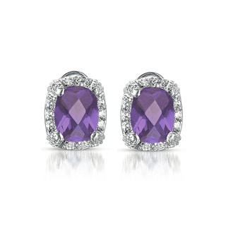 Collette Z C.Z. Sterling Silver Lavender Square Earrings