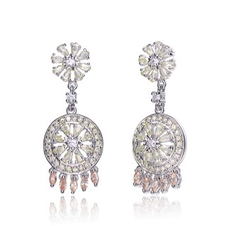 Collette Z C.Z. Sterling Silver Rhodium Plated Lemon And Champagne Round Drop Earrings - Orange