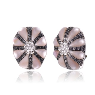 Collette Z C.Z. Sterling Silver Black And Rhodium Plated Mother Of Pearl Flower Earrings