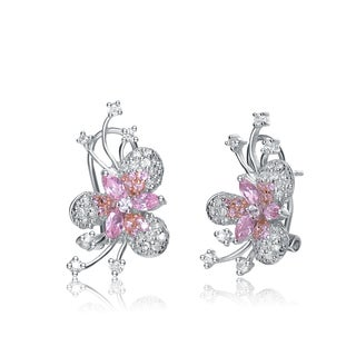 Collette Z C.Z. Sterling Silver Rhodium Plated Pink Marquise Flower Earrings