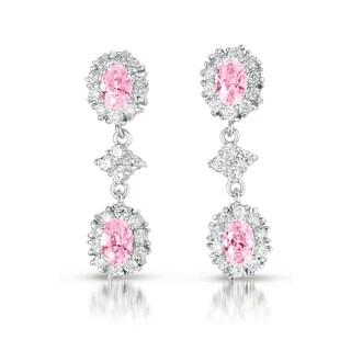 Collette Z C.Z. Sterling Silver Rhodium Plated Pink Oval Shape Dangling Earrings